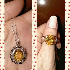 Jewelry - Citrine Necklace and Ring Set